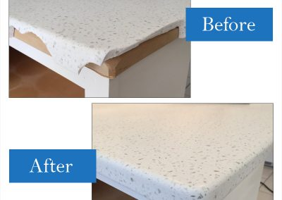 When installing, this countertop was dropped on it's corner; with vast repair experience  and quality craftsmanship it was expertly repaired and looks like new again.