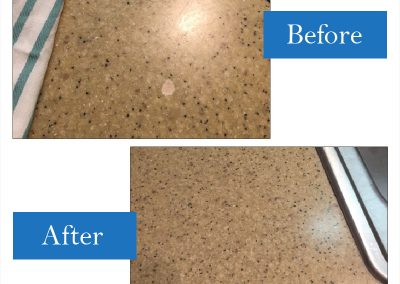Chemical dropped onto countertop and etched a spot which required a repair.