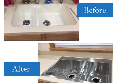Integral solid surface sink replaced with a drop-in stainless model with slim-line flange -  a Kohler Vault K-3823