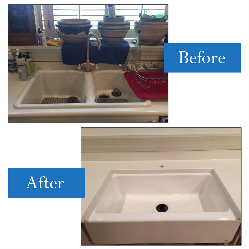 Cast Iron Drop In Replaced With Kohler Porcelain Undermount Farm Sink