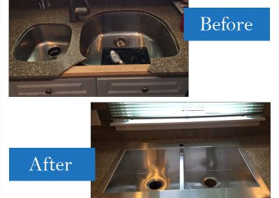 Countertop edge broken/sink damaged, undermount stainless steel replaced with Kohler apron front drop-in model