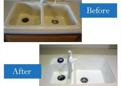 Cast-iron drop-in to a smaller Corian integral sink