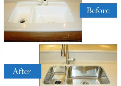 Integral to a smaller stainless steel undermounted sink