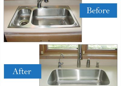 Old stainless steel drop-in to a smaller single undermount sink