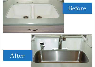 Integral double bowl to a smaller single Kraus undermount sink